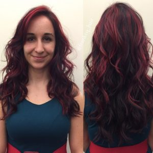 Balayage highlight with bright red glaze by Frank for By Subairi