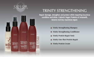 Trinity Strengthening hair care products are great for over processed and stressed hair.