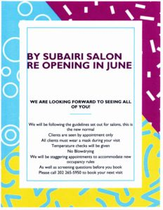 Re Opening Info For By Subairi Salon
